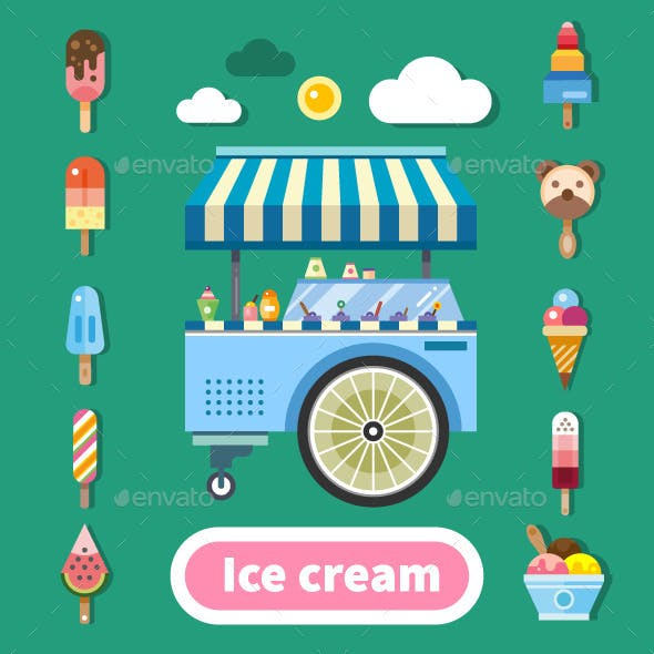 Ice Cream Trolley On A Hot Sunny Day