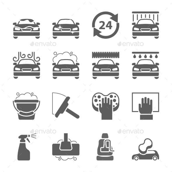 Car Wash Black Icons Set