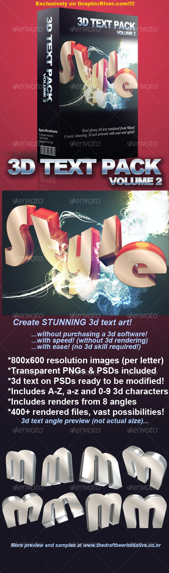 Glossy 3D Text Pack Volume 2 - 3D Backgrounds