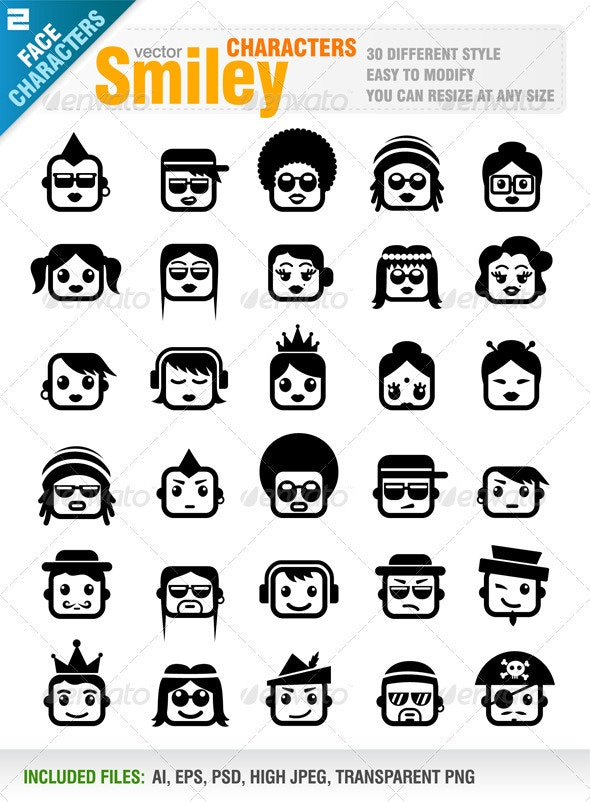 Smiley Characters - Characters Vectors