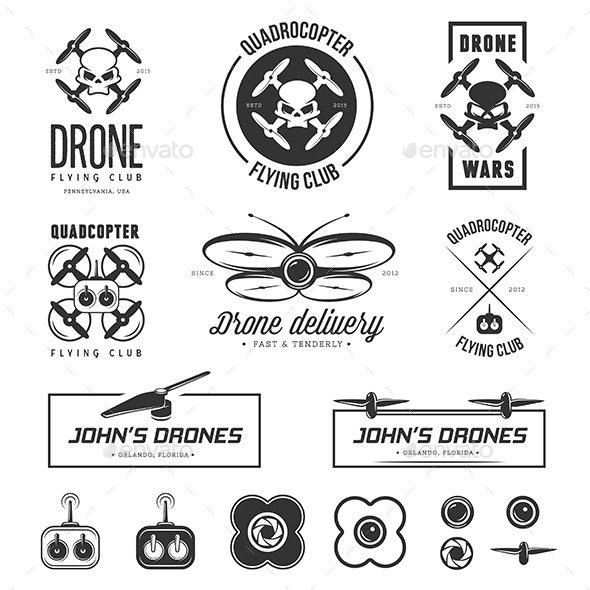 Drones Labels Set - Decorative Symbols Decorative