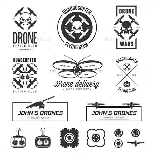 Drones Labels Set