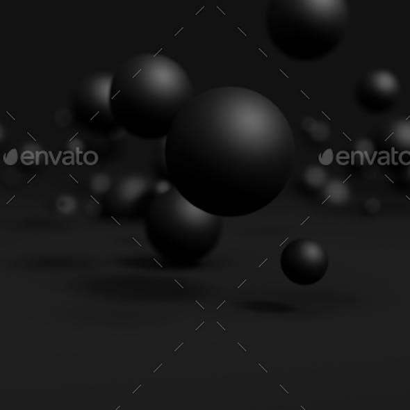 Abstract 3D Rendering Of Flying Spheres
