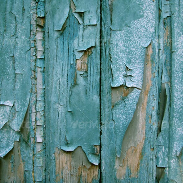 :: Blue wood planks and cracked paint