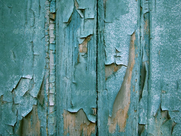 :: Blue wood planks and cracked paint - Wood Textures