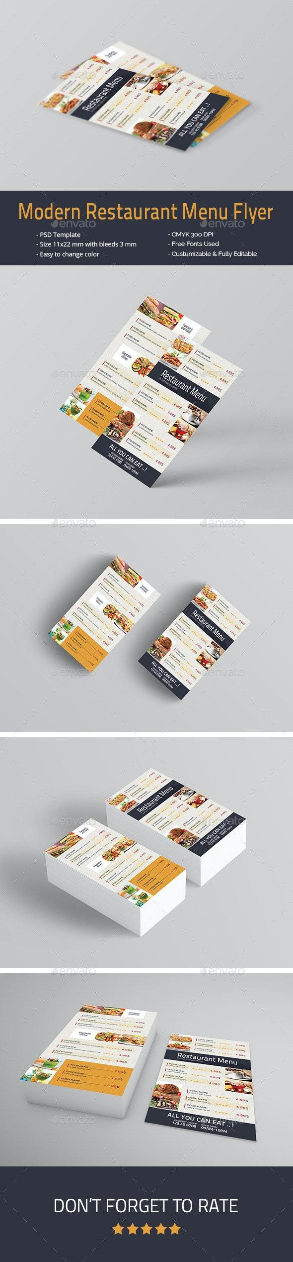Modern Restaurant Menu Flyer - Food Menus Print Templates