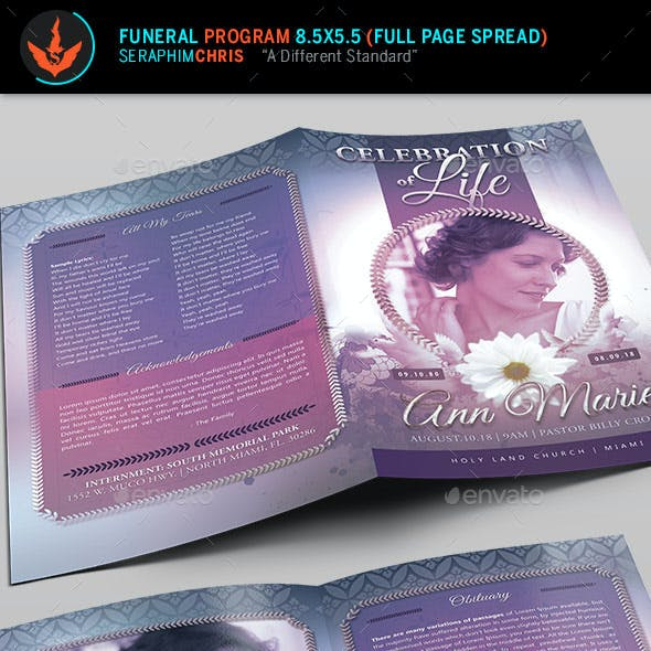 Lavender Funeral Program Template