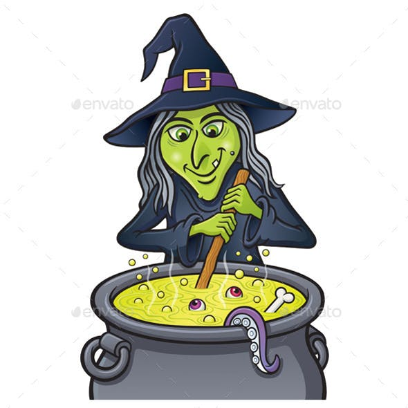 Grinning Witch Stirring Bubbling Cauldron