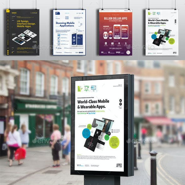 4 Mobile Apps Flyers / Posters