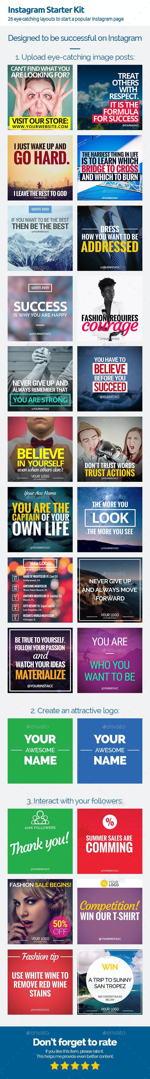 Instagram Starter Kit for Quote Posts - Miscellaneous Social Media