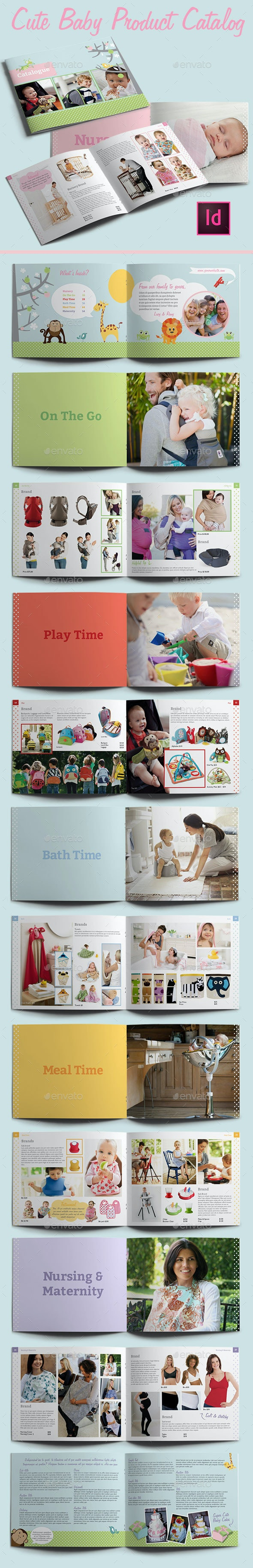 Cute Baby Product Catalog Indesign Template - Catalogs Brochures