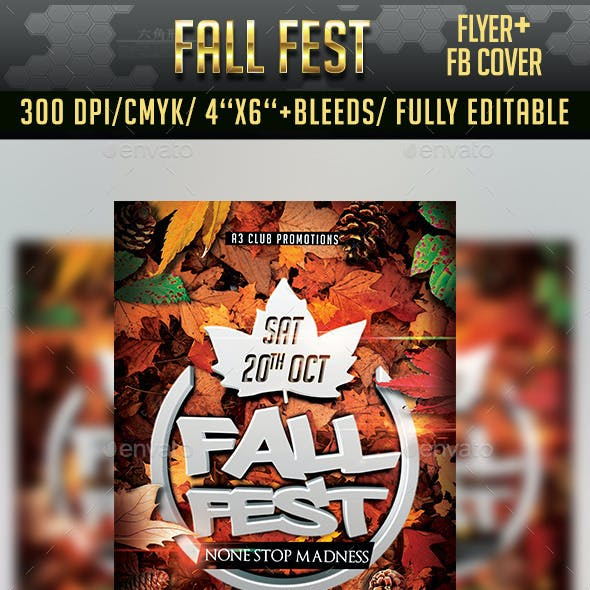 Autumn/ Fall Fest Flyer + Facebook Cover