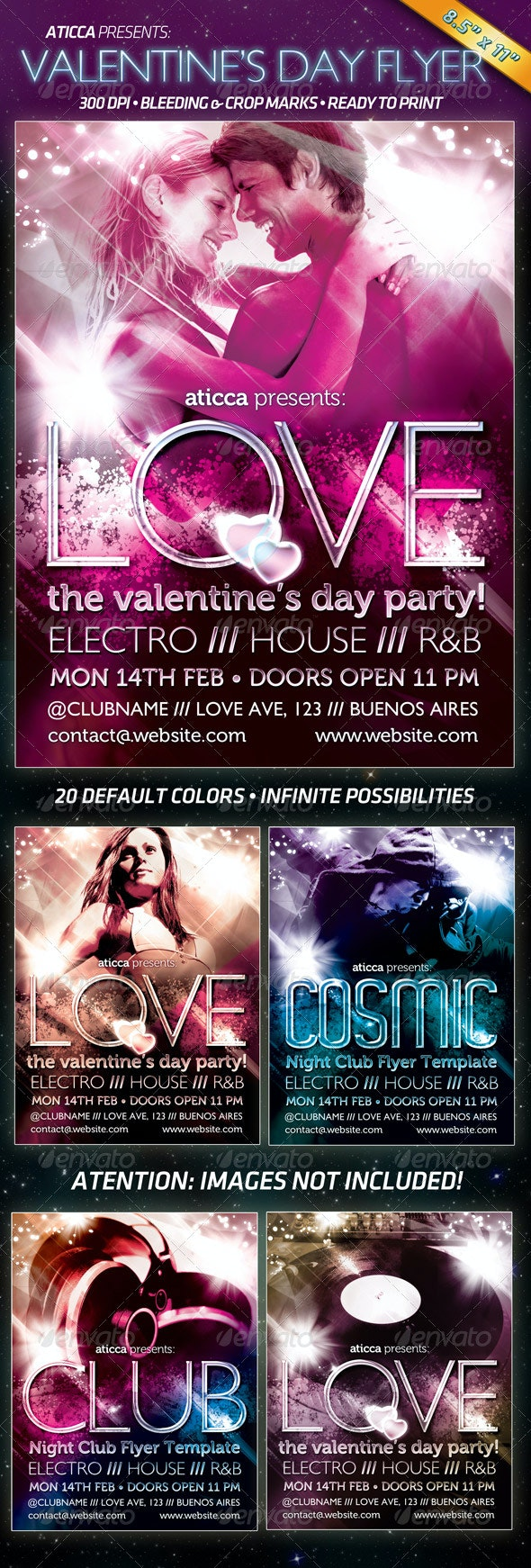 Love - Valentine's Flyer/Poster Template - Clubs & Parties Events