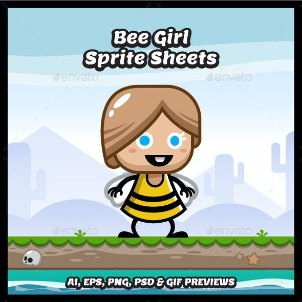 Bee Girl Game Character Spritesheets