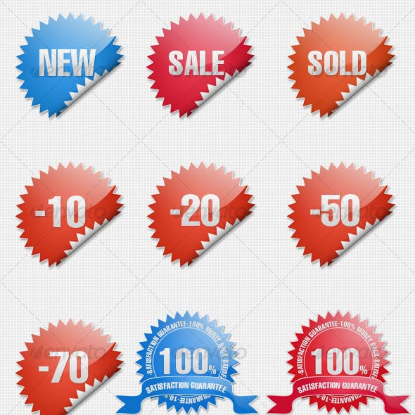 Glossy Shopping Sticker Icons