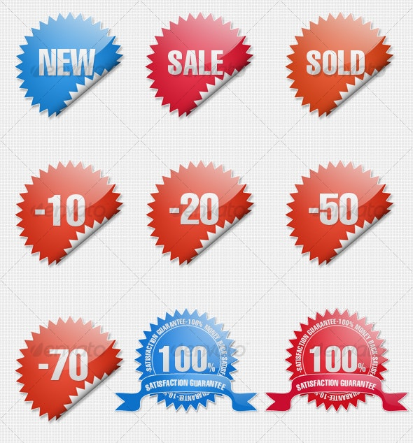 Glossy Shopping Sticker Icons - Miscellaneous Icons