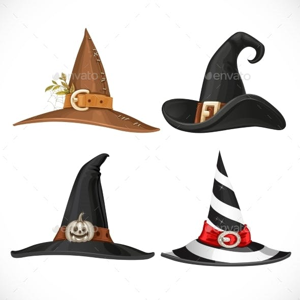 Witch Hat with Straps and Buckles