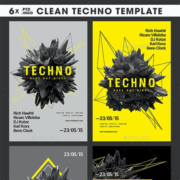 6x Clean Techno PSD/INDD Template + Facebook Cover
