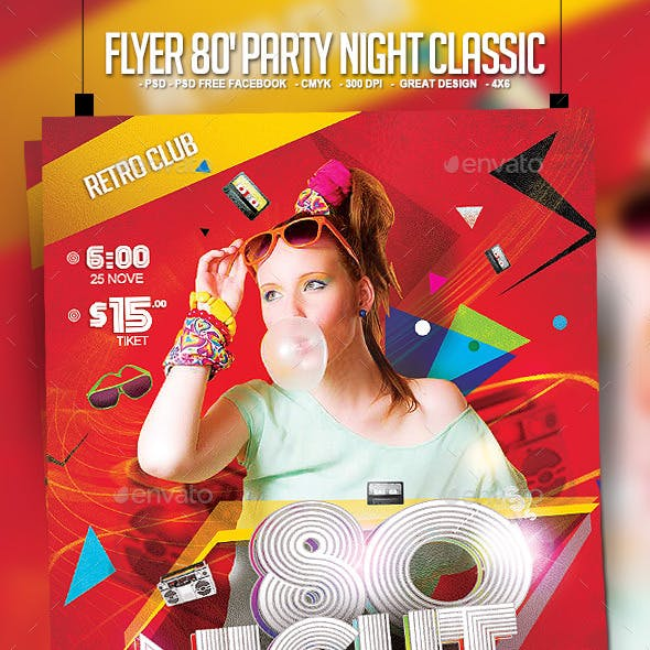 Flyer 80's Party Night Classic