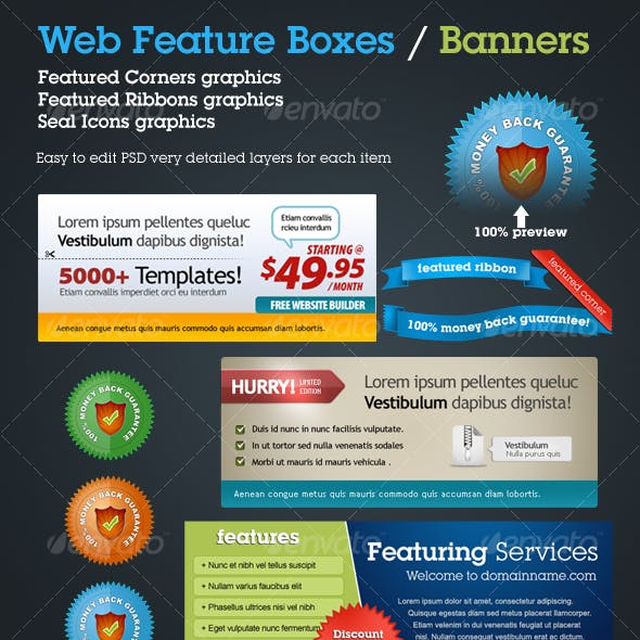 Web Boxes | Banners | Seals | Web 2.0 Ribbons