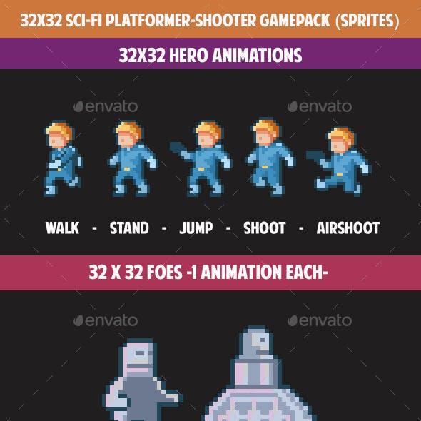32X32 SCI-FI PLATFORMER-SHOOTER GAMEPACK (sprites)