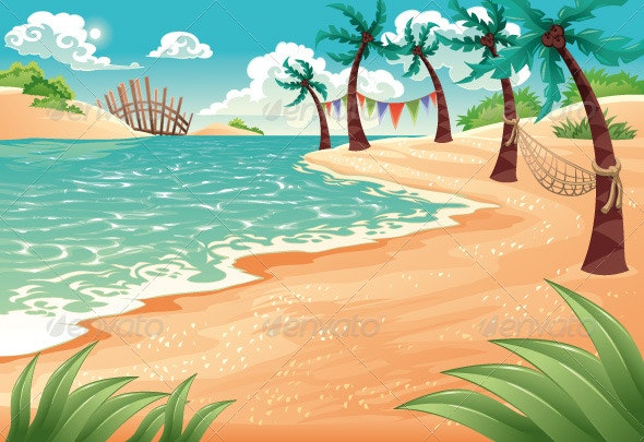 Cartoon seascape. - Landscapes Nature