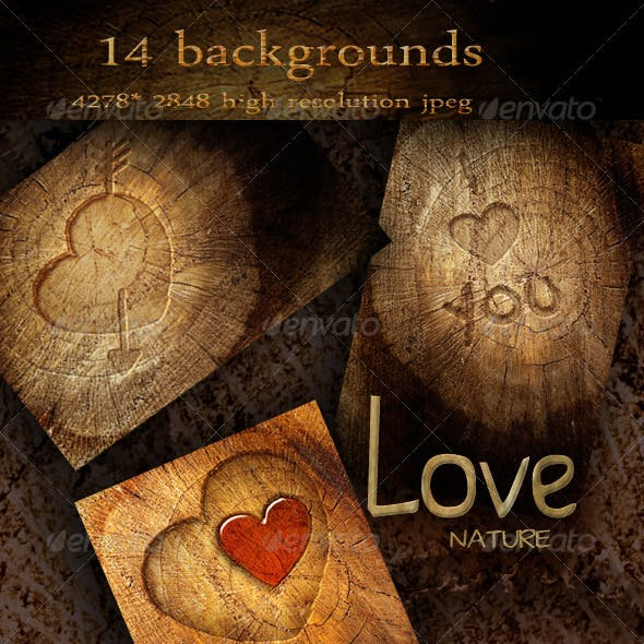 Nature Wood Backgrounds with Love Symbols