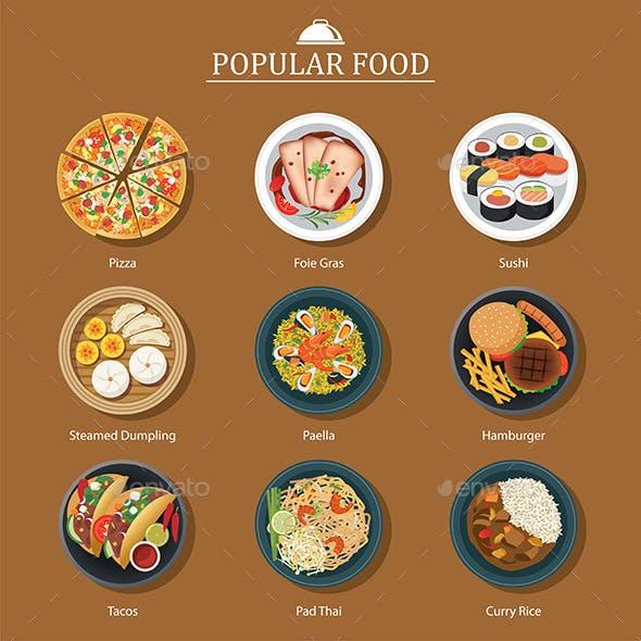 Set of Popular Food