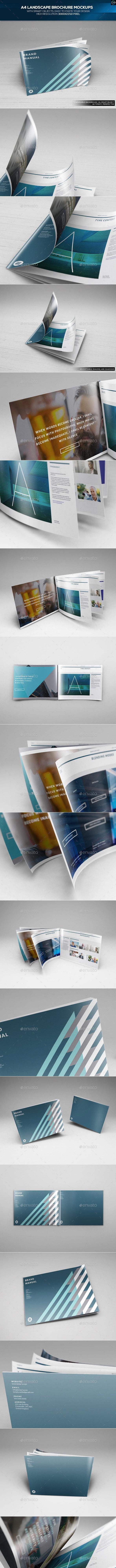 A4 Landscape Brochure Mockups - Brochures Print