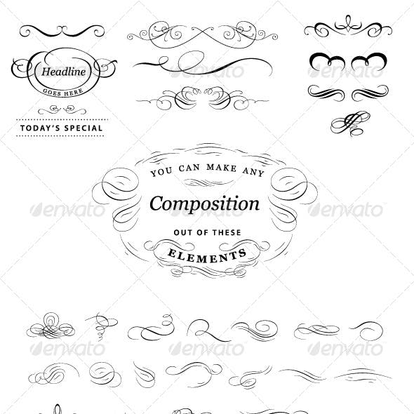 Calligraphic elements set