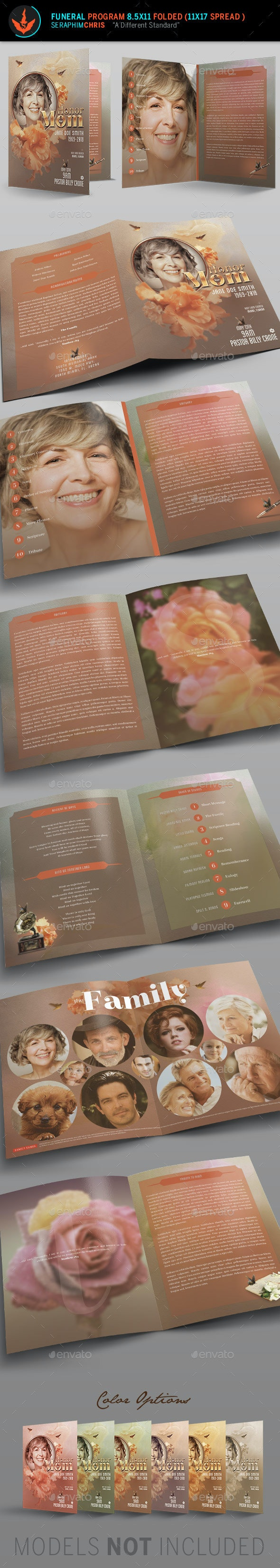 Honor Mom Funeral Program Template - Informational Brochures