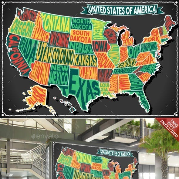 USA Map Vintage Blackboard 2D