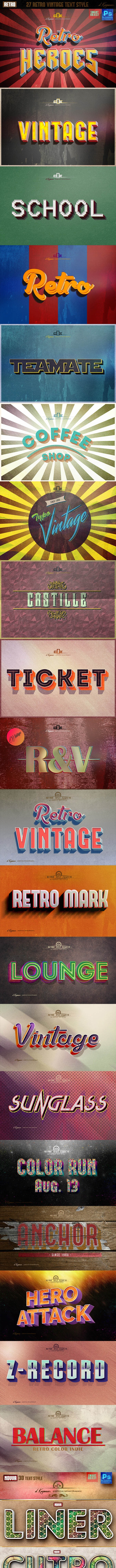 27 Retro & Vintage Style Bundle - Text Effects Styles
