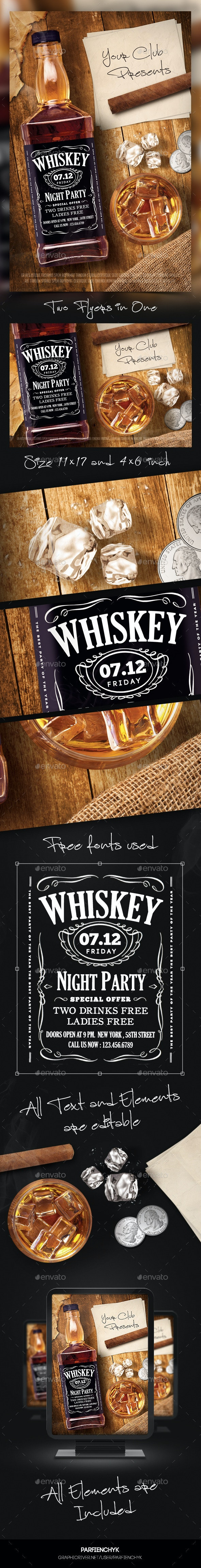Whiskey Night Party Flyer Template - Clubs & Parties Events