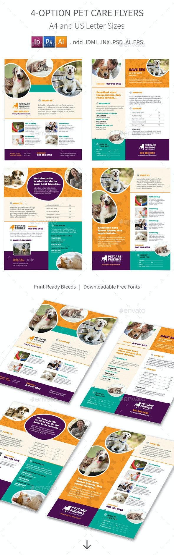 Pet Care Flyers – 4 Options - Corporate Flyers
