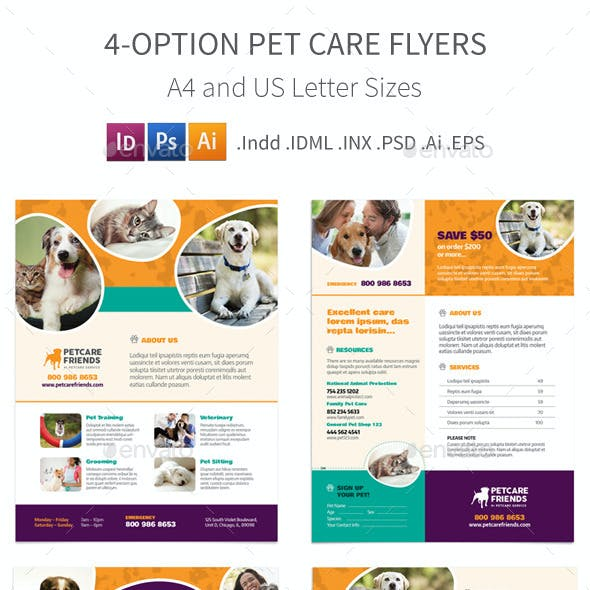 Pet Care Flyers – 4 Options