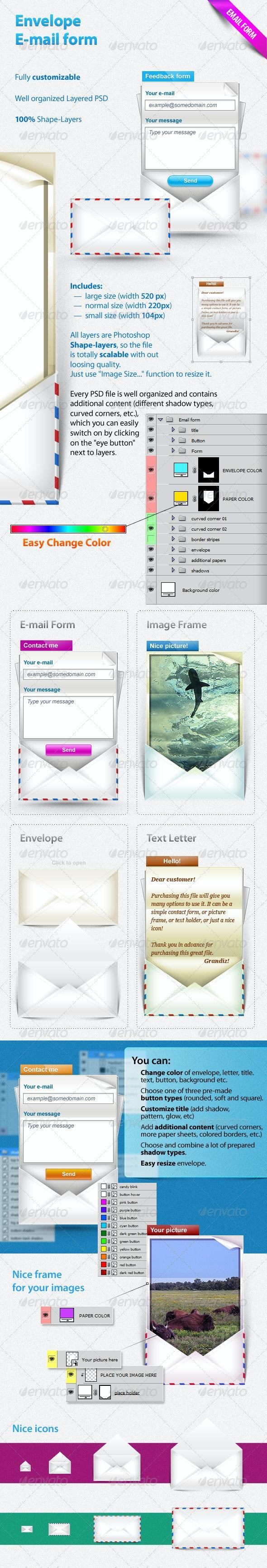 Envelope E-mail form - Buttons Web Elements