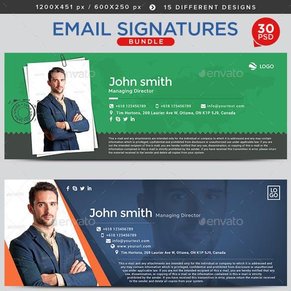 Email Signature Bundle - 15 Designs - 2 Sizes Each