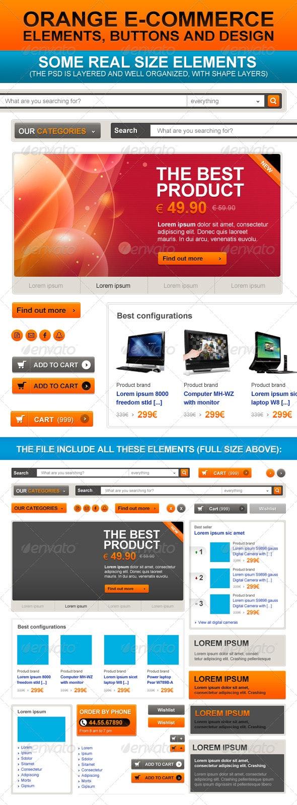 E-Commerce Orange Web Elements - Miscellaneous Web Elements