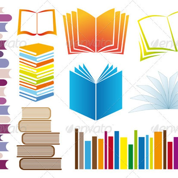 Set Of Vector Books