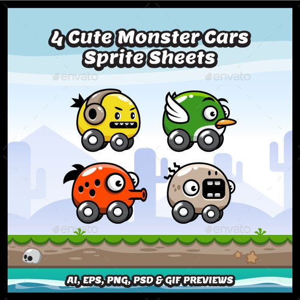 4 Cute Monster Car Sprite Sheets