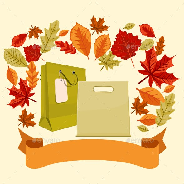 Autumn Shopping Bags and Ribbon