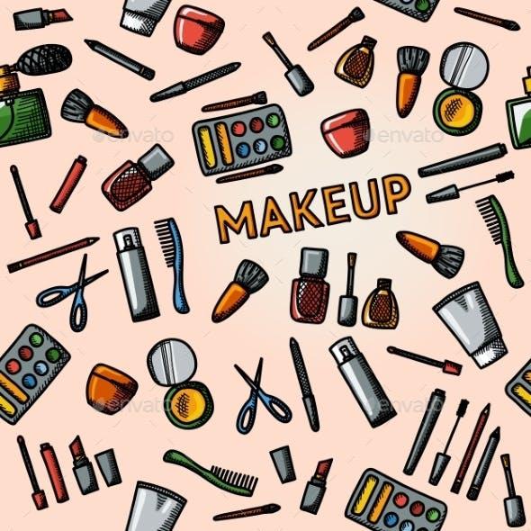 Color Hand Drawn Makeup Pattern - Mascara, Polish