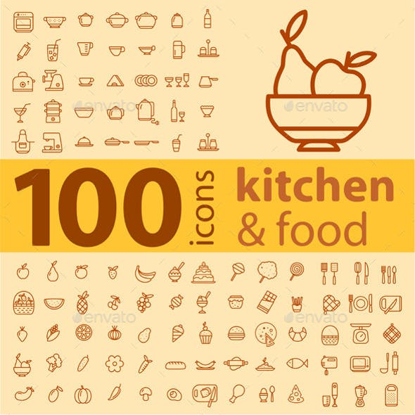 Set of 100 Kitchen Icons.