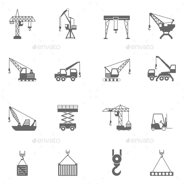 Building Construction Crane Black Icons Set
