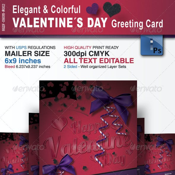 Elegant & Colorful Valentine´s Day Greeting Card