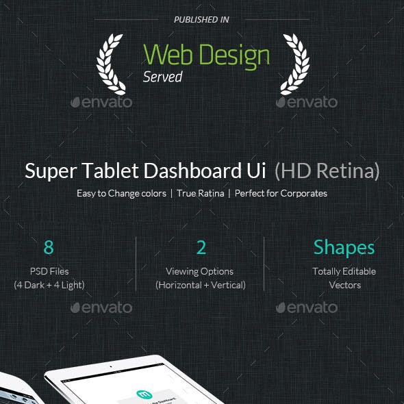 Super Tablet Dashboard Flat Ui