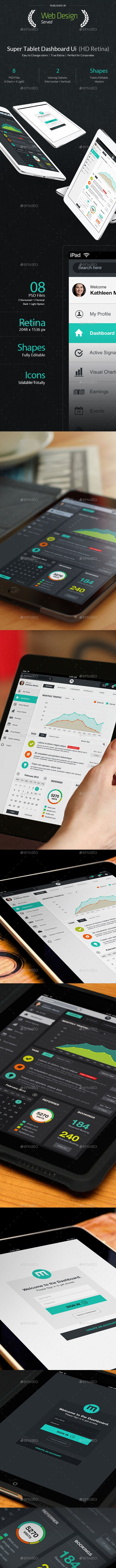 Super Tablet Dashboard Flat Ui  - User Interfaces Web Elements
