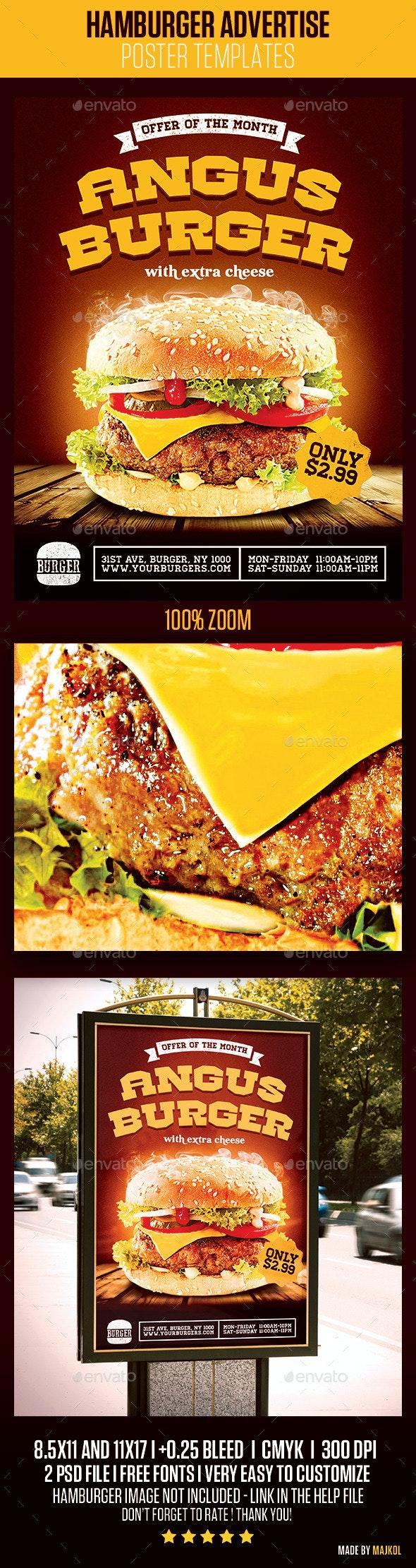 Hamburger Advertise Posters - Restaurant Flyers