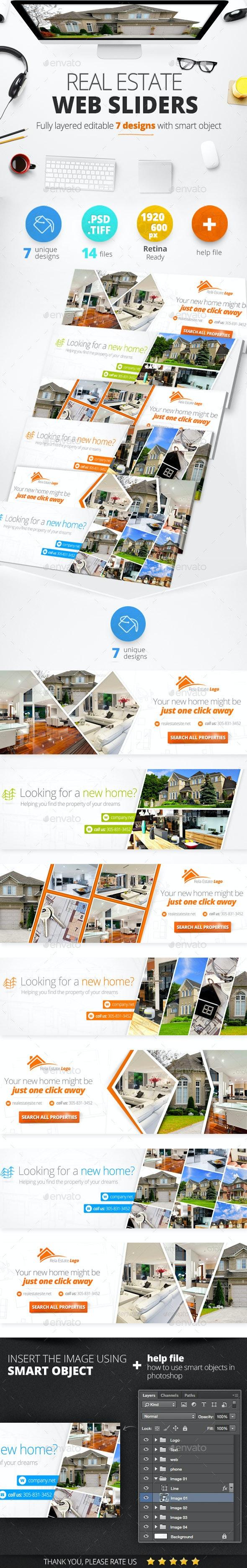 Real Estate Web Sliders 7 designs - Sliders & Features Web Elements
